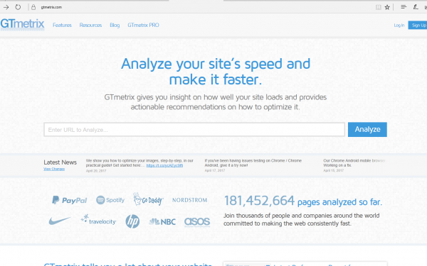 Nettside GTmetrix