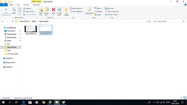hvorda ta skjermbilde på Windows 10