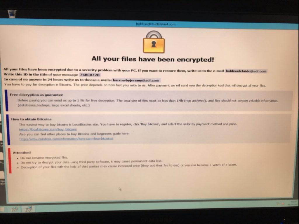 filene på serveren er blitt kryptert av et løsepengevirus