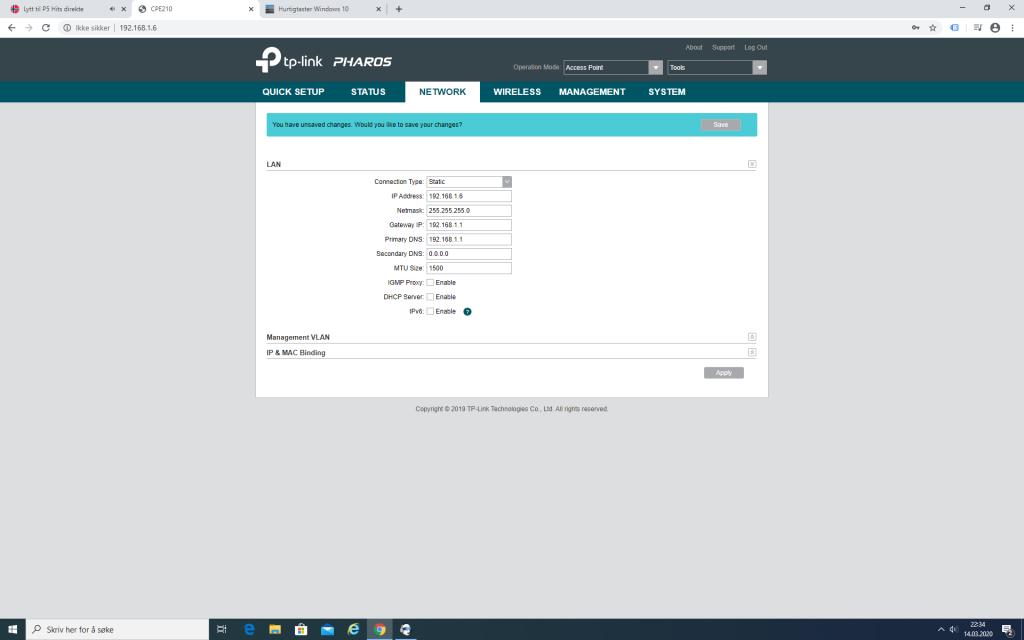 TP-Link CPE210 Access Point Nettverk